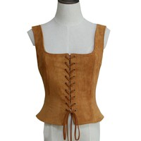 Medieval Lady Lace Up Corset Vest Renaissance Bodice Waistcoat Custom Made