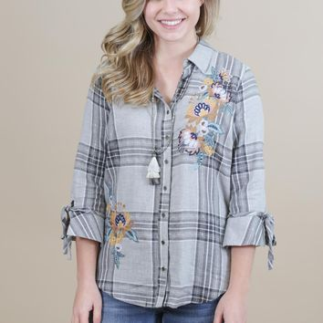Embroidered Tie Sleeve Top, Grey