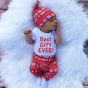 Hot Newborn Clothes Set Long Sleeve Baby Rompers Pants Hat 3pcs Clothing Suit for Boys Girls Climbing Suit Kids Clothing Outfit