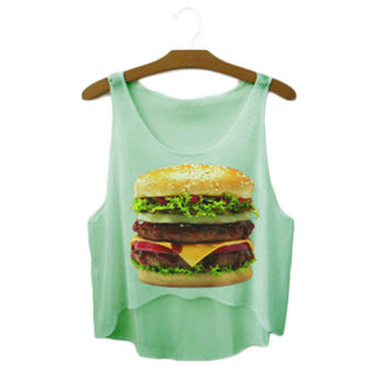 Women's Hamburger Food Printed Cute Sexy Girl Cropped Sports Summer Harajuku Style Camisole Youth Crop Tank Top Top