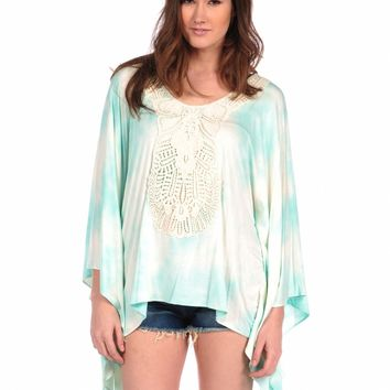 Veronica M Tie Dye Crochet Bat Wing Top
