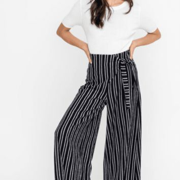 Women's Striped Culotte Pants with Tie Waist
