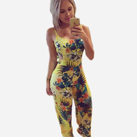 2015 women's Jumpsuits yellow printed casual spaghetti strap loose Jumpsuits long length flower pattern Jumpsuits QAF222