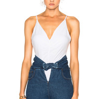 T by Alexander Wang Micro Modal Spandex Shirred Front Camisole in White | FWRD