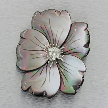 Vintage Estate 18k Solid White Gold Diamond Mother of Pearl Flower Brooch Pin