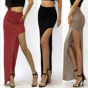 new 2017 novelty Skirt Sexy Women Long Skirts Lady Empire Open Side Split Skirt high waist High Slit Long Maxi Skirts