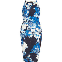 River Island Womens Blue floral print bodycon dress
