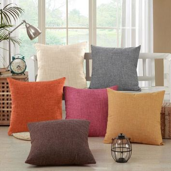 Solid Yellow Red White Grey Cushion Covers Nordic Modern Decorative Pillow Covers Cotton Linen Chair Seat Sofa Throw Pillows