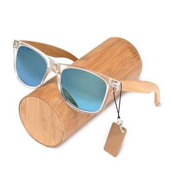 Transparent Frame And Bamboo Legs Sunglasses