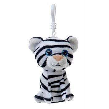 "4"" Sitting White Tiger Kc with Fiesta Hang Tag - CASE OF 96"