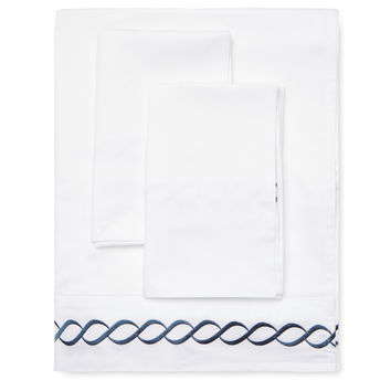 Melange Home Embroidered Sheet Set - Dark Blue/Navy -