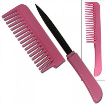 Pink Comb with Hidden Dagger Knife