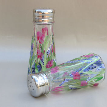 Handpainted Glass, Salt & Pepper Shakers w/ Grass and Floral, kitchen, storage, tableware