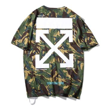Off White New fashion cross arrow print camouflage top t-shirt