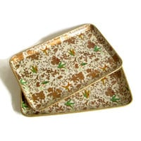 Vintage, Serving Trays, Paper Mache, Cocktail Trays, Gold and Green Bird Motif, Set of 2, Home Decor, Cottage Chic