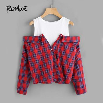 ROMWE Open Shoulder Check 2 In 1 Shirt Tunic Vogue Blouse Women Red Button Plaid Top Fall 2017 Long Sleeve Lapel Blouse