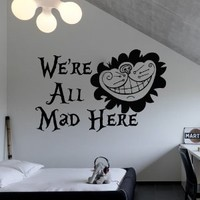 Wall Decal Vinyl Sticker Decals Art Decor Design Alice in Wonderland Rabbit Cat Clock Were All Mad Here Quote Dorm Bedroom Fashion M1509