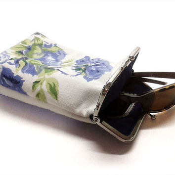 Sunglasses Case Spring Collection - Blue Rose - One-of-A-Kind (OOAK) - cotton canvas - Silver Frame - Ready to ship!
