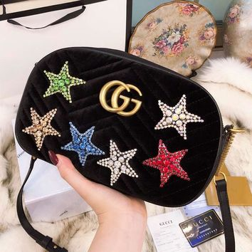 GUCCI 2018 new gold velvet five-pointed star rhinestone small round bag chain shoulder diagonal package F-BCZ(CJZX) black