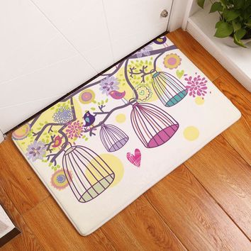 Autumn Fall welcome door mat doormat 2017 Fashion Birds & Birdcage Painting Carpets Anti-Slip Floor Mat Outdoor Rugs Lovely Animals Front s Non-slip s AT_76_7