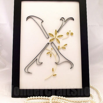 Beautiful personalised Quilled X Letter with either silver or golden flowers in a black Ikea Nyttja Photo Frame