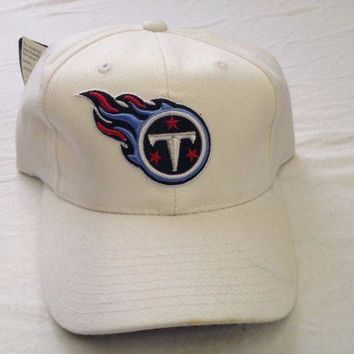 DCCKIHN BRAND NEW TENNESSEE TITANS LOGO REEBOK NFL WHITE CURVED BRIM ADJUSTABLE HAT