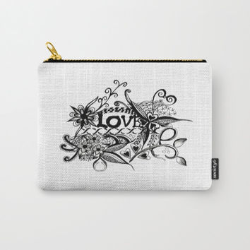 Carry-All Pouches, love Carry-All Pouches, black and white Carry-All Pouches, love pouch , love organizer, iPad pouch, makeup pouch