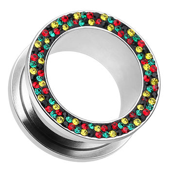 Sparkling Rasta Multi Glass-Gem Screw-Fit Ear Gauge Tunnel Plug