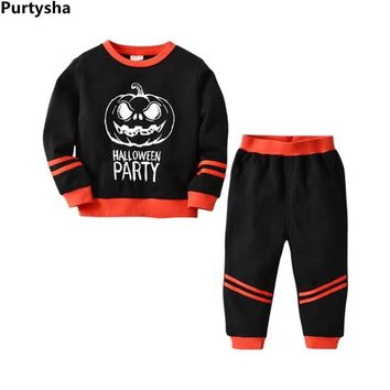 Toddler Boys Clothing Set Fall Halloween Pumpkin Printed Long Sleeved Cotton Hoodie Pants Two Piece Boutique Kids Girls Outfits