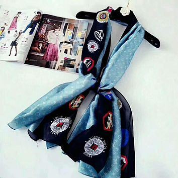 LV Louis Vuitton Stylish Women Logo Print Blue Silk Scarf Silk Kerchief Cape Scarf Scarves I-XLL-WJ