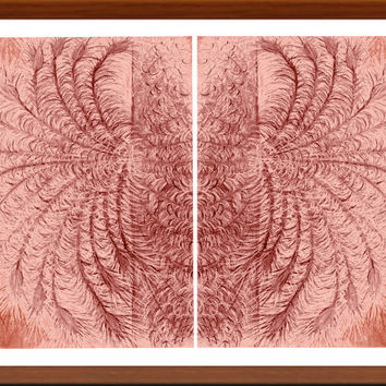 Peacock Feathers Brown Abstract Landscape, Wall & Home Decor, Art Print 2 Piece, Vibrant color Colorful  High quality Prints