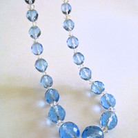 Blue Czech Art Deco Necklace, Faceted Glass, Vintage