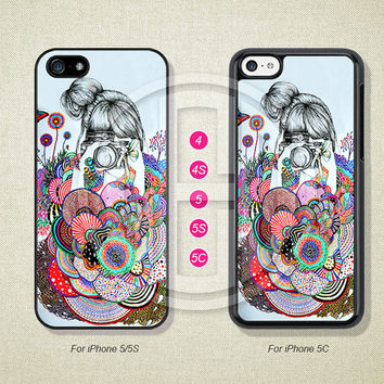 Phone Cases, iPhone 5S Case, iPhone 5 Case, iPhone 5C Case, iPhone 4 case, iPhone 4S case, Flower, Girl, Case For iPhone --L50244