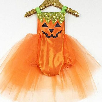 Baby Infant Girl Halloween Baby Girls Kids Romper Jumpsuit Lace Tutu Dress Costume Clothes Outfits CA 0-24M