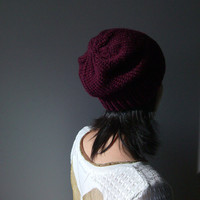 Hand Knitted Chunky Hat in Dark Violet - Slouch Seamless Hat - Winter Hat - Wool Blend