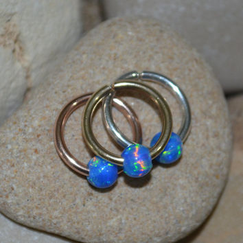 Extra Small 14k Gold Filled Opal Nose Ring, Hoop Earring, 16g Cartilage Piercing,catchless,seamless,endless,helix/tragus 16 Gauge rings