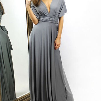 Grey Deep V Wrap Waist Maxi Dress