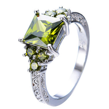 Unique Peridot Square Zircon Stone Ring White Gold Filled Wedding Bands Party Gift Finger Rings For Women Men Anel RW0152
