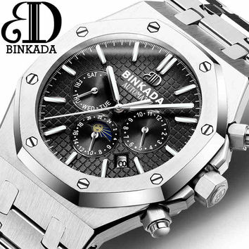 Top Swiss Watch Luxury Brand Sport Watch - 2017 Mens Automatic Moon Phase Mechanical Wristwatches Fashion Stainless Steel Relogio Men