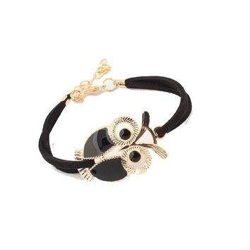 Owl Decoration Faux Leather Charms Bracelets
