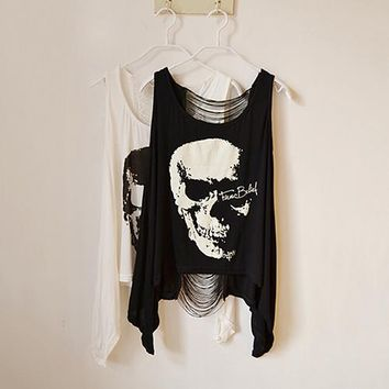 Women's Cool Punk Skull Print Sexy Hollow Back Loose Sleeveless Blouse Tank Top