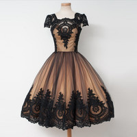 Square Tea Length Short Sleeves Homecoming Dresses with Lace