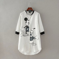 Vertical Stripe Mickey Mouse Print Sleeve Buttons Dress Shirt