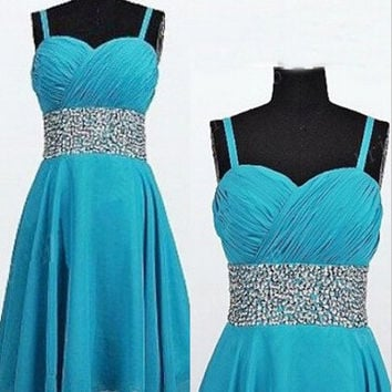 Homecoming Dress,spaghetti Straps Chiffon Beadings Short Prom Dress
