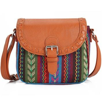 Vintage Fabric Boho Aztec Tribal Female  with PU Leather Messenger Bag