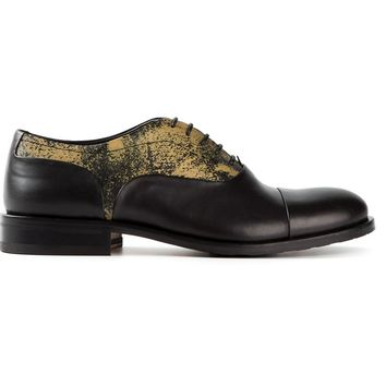 Pollini distressed print oxford shoes