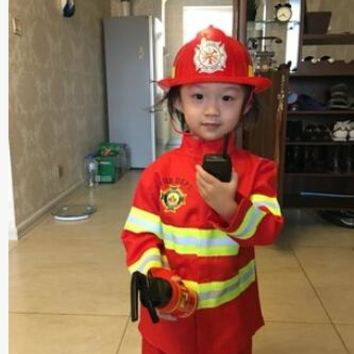 100-160 cm 2 colors 1Set Kid Child Halloween Christmas Cosplay Firefighter Fireman Costume