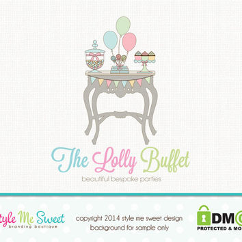 Party Boutique Logo Custom Logo Design Candy Logo Design Hand Drawn Premade Logo Design