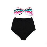 Retro Style Multi-Color Chevron Print Bow Bandeau & Black High Waisted Bikini! Cute Bow Bikini! Limited Edition!