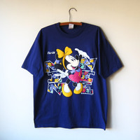 90s Disney Minnie Mouse Dark Purple Florida Tourist Double-Sided T-Shirt! -- Size XL